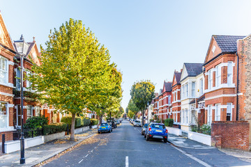 Chiswick suburb street in a...