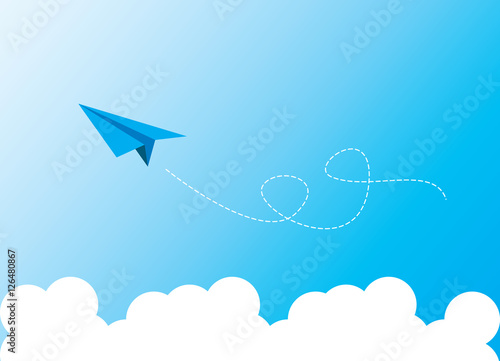 Papiers peints Avion, ballon paper plane on blue sky
