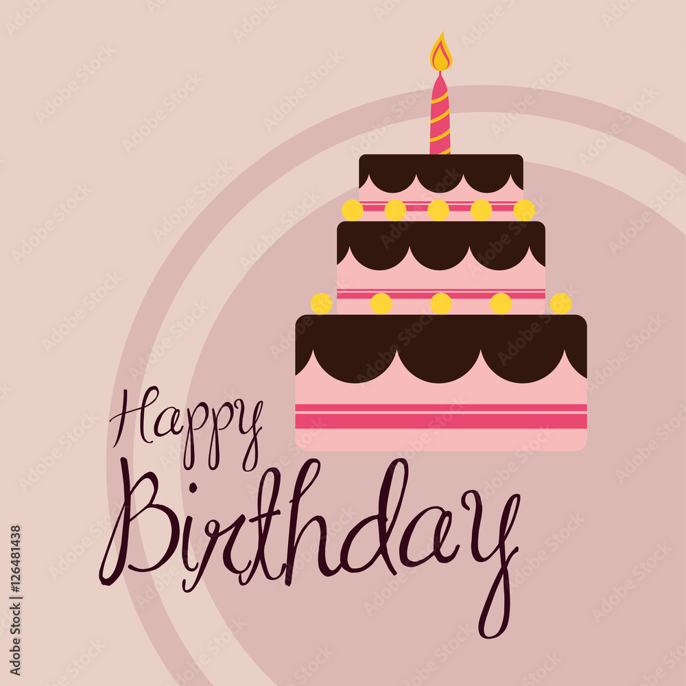Happy Birthday Cake Icon Vector Illustration Graphic Design Foto Poster Wandbilder Bei EuroPosters