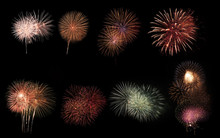 Collage Of A Variety Of Colorful Fireworks Isolated On Black Bac