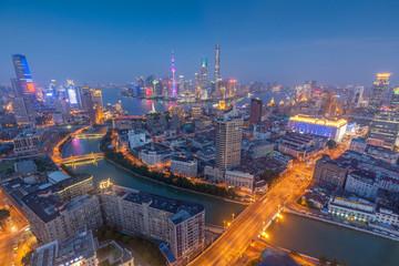 Evening Shanghai city