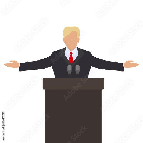 Obraz na płótnie The politician behind the podium