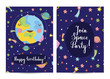 Happy birthday cartoon greeting card on space theme. Cute smiling Earth surrounded by stars, comets and planets on blue background vector illustration. Bright invitation on childrens costumed party