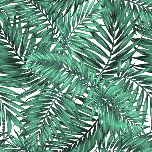 Seamless Tropical Jungle Palm Leaves Pattern Green Blue Turquoise On White Background Exotic Camouflage