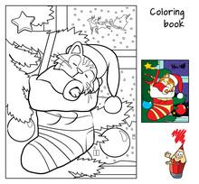 Cute Little Cat Sleeping In Christmas Socks Near Christmas Tree. Coloring Book. Cartoon Vector Illustration