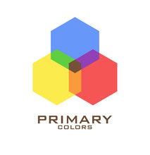Three Hexagons Of Primary Colors Blue, Red, Yellow And Mixing Of Them. Vector Illustration