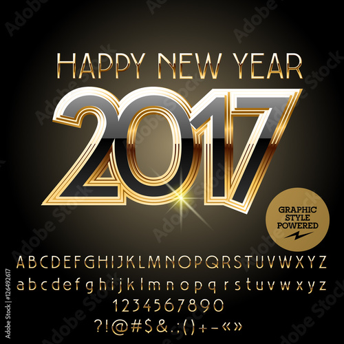 Fototapety, obrazy: Vector gold chic Happy New Year 2017 greeting card with set of letters, symbols and numbers. File contains graphic styles