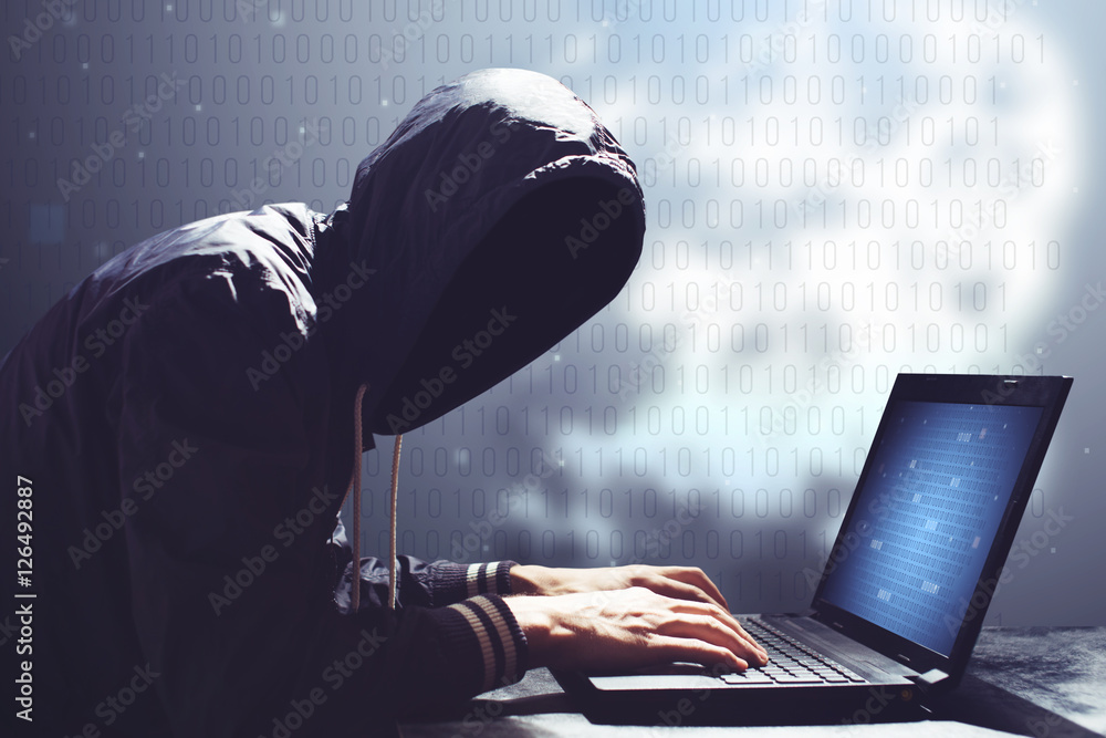 Fototapeta adult online anonymous internet hacker with invisible face