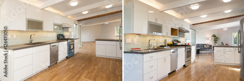 Fotografia Before and After photo of newly installed and decorated modern w
