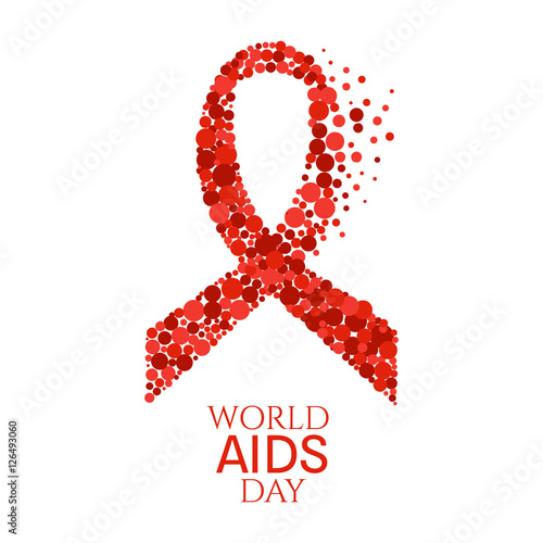 Aids Awareness Poster World Aids Day Symbol Red Ribbon Made Of