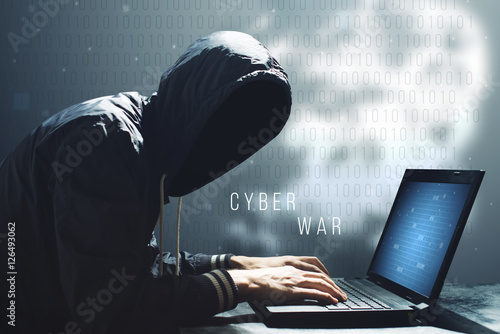 Fotografie, Tablou  Hacker with laptop initiating cyber attack