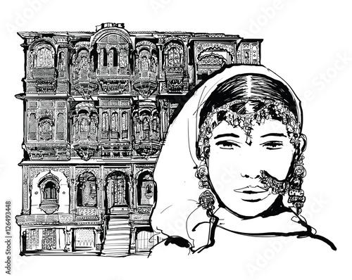 Keuken foto achterwand Art Studio Facade of old house in Jodhpur, India
