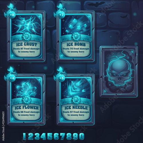 Canvas Print Set spell cards of ice school