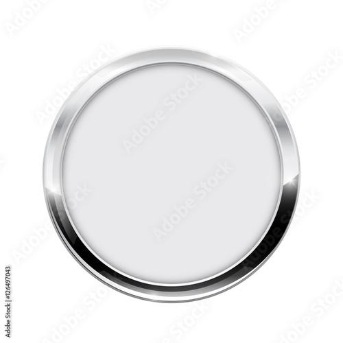 Fotografía  Round button.  White web icon with chrome frame