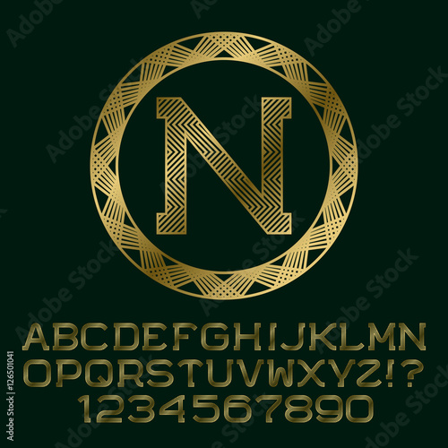 Zigzag Patterned Gold Letters And Numbers With N Initial Monogram