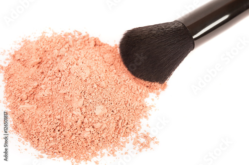Fotografía  Powder blush and black makeup brush