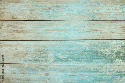Old weathered wood plank painted in blue Wallpaper Mural