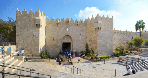 Damascus gate, nord entrance in old part of Jerusalem, Israel