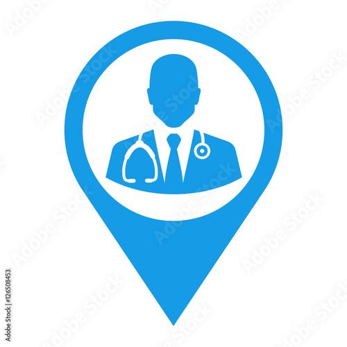 Foto  Icono plano localizacion silueta doctor azul
