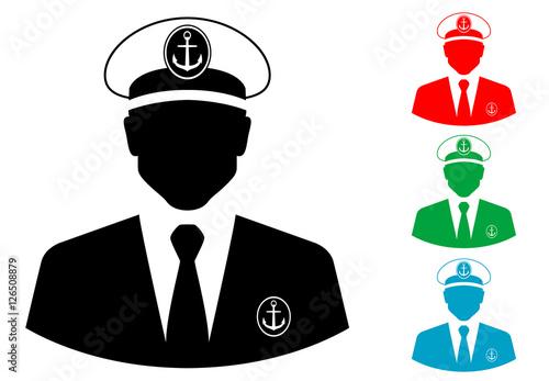 Icono plano silueta capitan barco varios colores Canvas Print