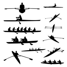 Rowing Boat Single Double And Team Silhouette Set