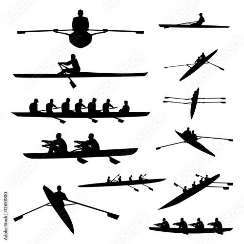 Fotografija Rowing Boat Single Double and Team Silhouette Set