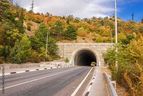 entrance to the tunnel in the mountain highway