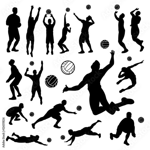 Photo  Volleyball Men Silhouette Set - Playing Serve Jumping Smash