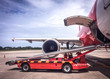 air plane with car , selective focus , vintage photo , blur