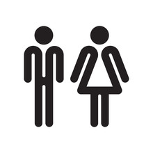 Man And Woman WC Sign On White Background. Flat People Icon.