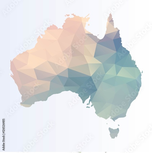 Fotografie, Obraz  Polygonal map of Australia