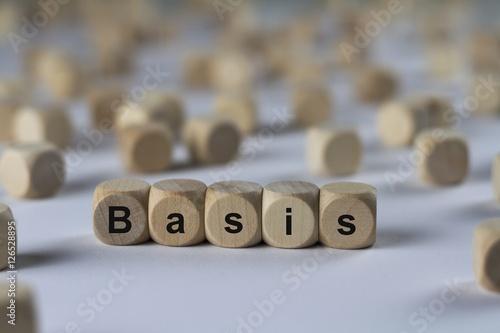 Fotografie, Obraz  Basis - Holzwürfel mit Buchstaben