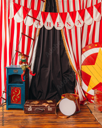 arena circus clown drum suitcase