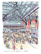 Liverpool Street Station In Beautiful And Artistic Watercolours