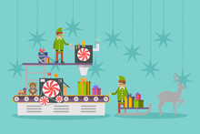 Elf Factory Or Elves Workshop, Toy Production Line