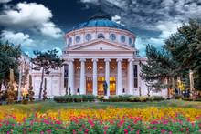 Romanian Atheneum At Sunset Wi...