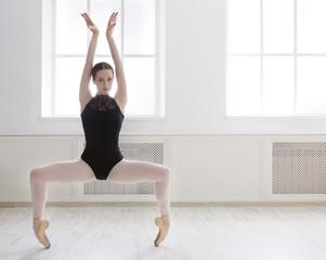 Beautiful ballerine stands in ballet plie position