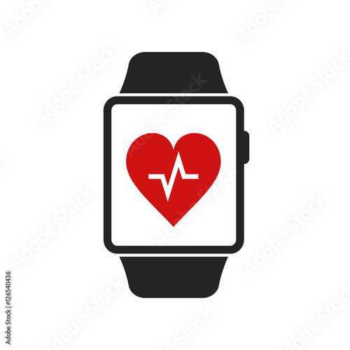 Smart Watch Icon With Heart Beat App Symbol Vector Isolated Simple
