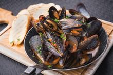 Tasty Mussels In Pan