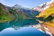 Mountain lake reflection landscape