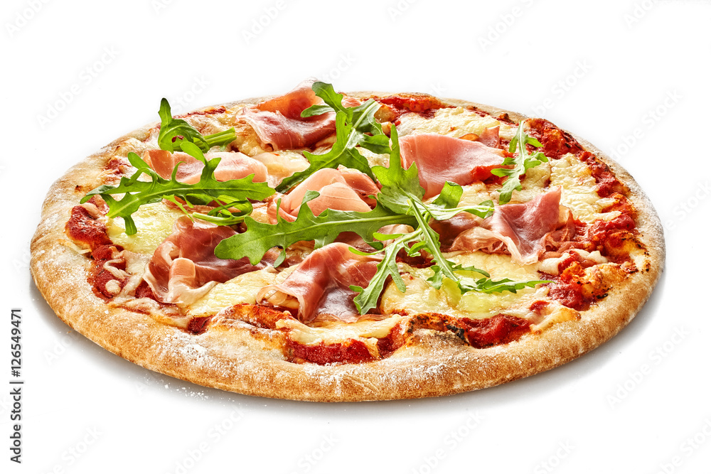 Pizza with ham and rocket salad isolate on white background