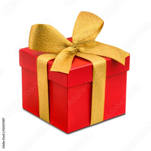 Foto-Doppelrollo - Rotes Geschenk mit goldener Schleife als Freisteller (von eyetronic)