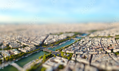 Deurstickers Parijs Panoramic view of Paris, France. Miniature tilt shift lens effect.
