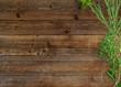 Leinwanddruck Bild Frische Kräuter auf rustikalem Holz-Küchentisch - Banner / Hintergrund