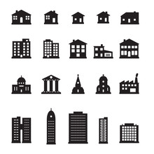 Buildings Icon Set. Pixel Perfect Vector.