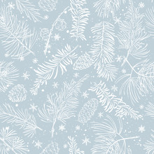 Seamless Pattern With Branches. Christmas And New Year Background.