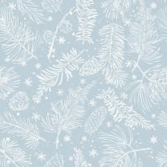 FototapetaSeamless pattern with branches. Christmas and New Year background.