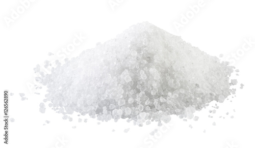 Poster Aromatische Pile of white rock salt on the white background.