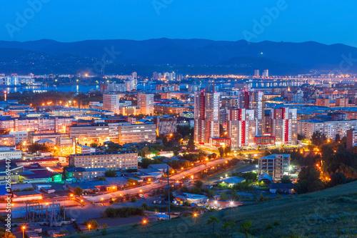 Fototapeta Krasnoyarsk aerial panoramic view obraz