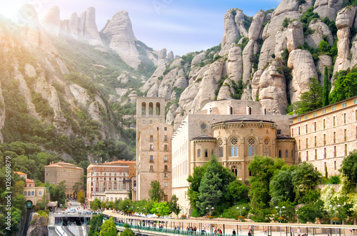 Poster Monument Montserrat Monastery, Catalonia, Spain. Santa Maria de Montserrat is a Benedictine abbey located on the mountain of Montserrat.
